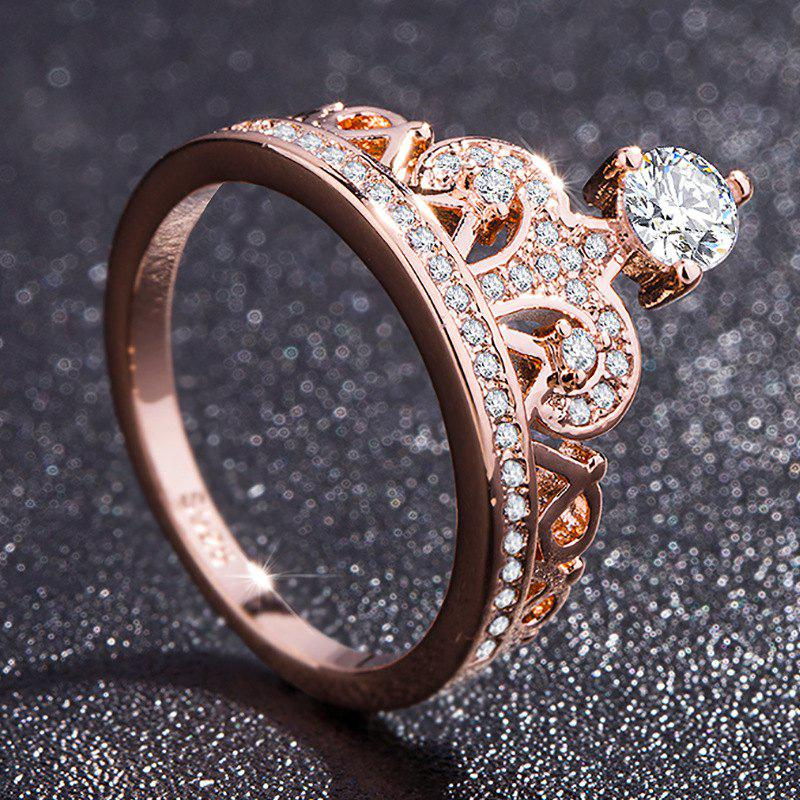 Discount Fashion Rose Gold Pretty Crown Lady Crystal Ring Princess Ring Perfect Present