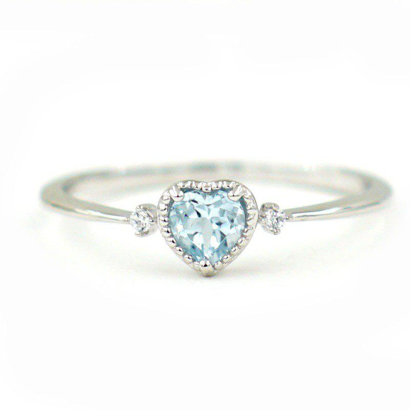 Discount Women'S Silver Sea Blue Heart Shaped Sapphire Engagement Ring