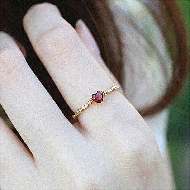 Discount Women'S Delicate 18K Gold Red Heart-Shaped Diamond Gemstone Ring