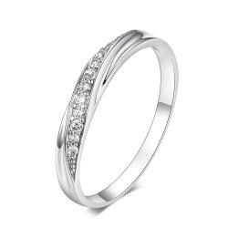 Exquisite Twisted Diamond Men'S and Women'S 18K Gold Couple Ring -