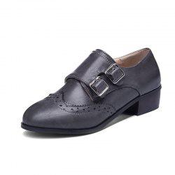 Fashion Round Toe with Belt Buckle Temperament Chunky Women Casual Pumps -
