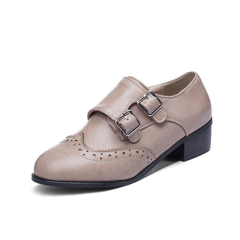 Affordable Fashion Round Toe with Belt Buckle Temperament Chunky Women Casual Pumps