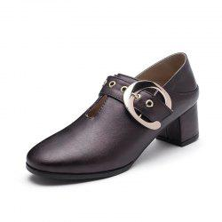 New Fashion Round Toe with Belt Buckle Chunky Women Casual Pumps -