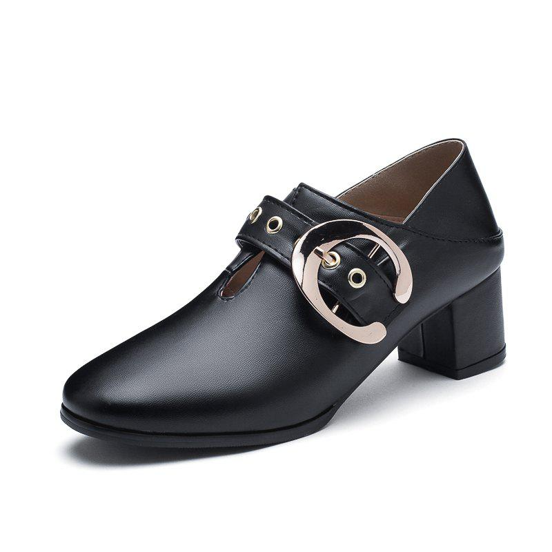 Outfits New Fashion Round Toe with Belt Buckle Chunky Women Casual Pumps