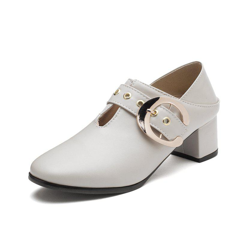 Shop New Fashion Round Toe with Belt Buckle Chunky Women Casual Pumps