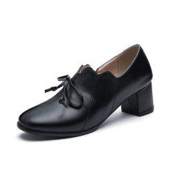 New Fashion Round Toe Pure Color Bowknot Chunky Women Casual Pumps -