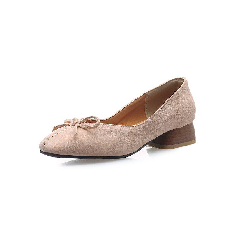 Buy New Fashion napped Leather Square Toes Pure Color Bowknot Chunky Lady Pumps