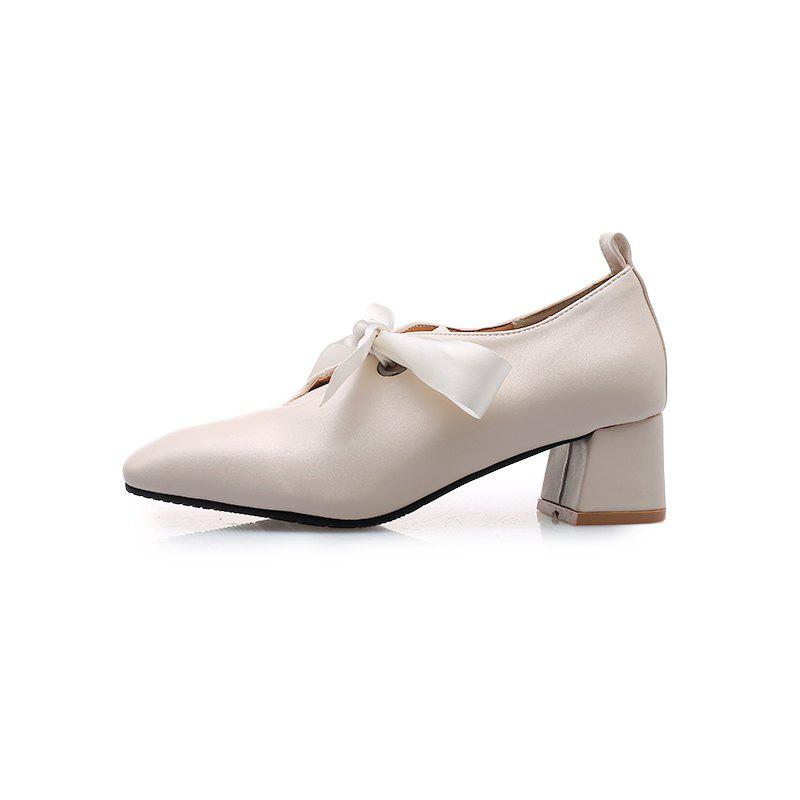Outfits New Fashion Square Toes Pure Color Bowknot Chunky Lady Casual Pumps