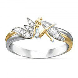 Silver Fantasy Flower Fairy Elf Cubic Zirconia 14K Gold Lady Ring -