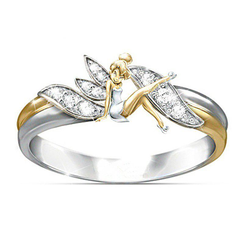 Latest Silver Fantasy Flower Fairy Elf Cubic Zirconia 14K Gold Lady Ring