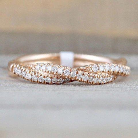 Women'S Fine Solid 14K Gold Round Cut Rope Curve Party Ring
