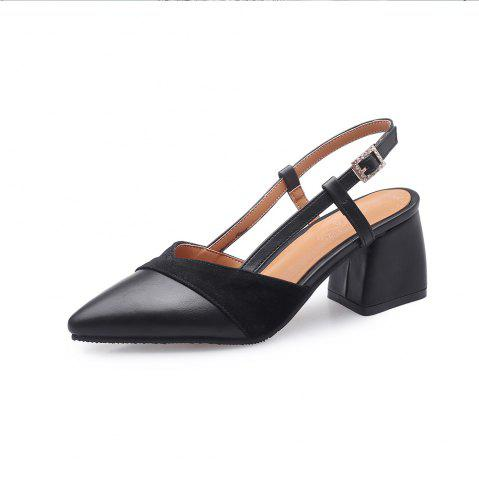 8549c5abb3d New Fashion Pointed Toe Splicing Buckle Strap Chunky Heels Elegant Lady  Sandals