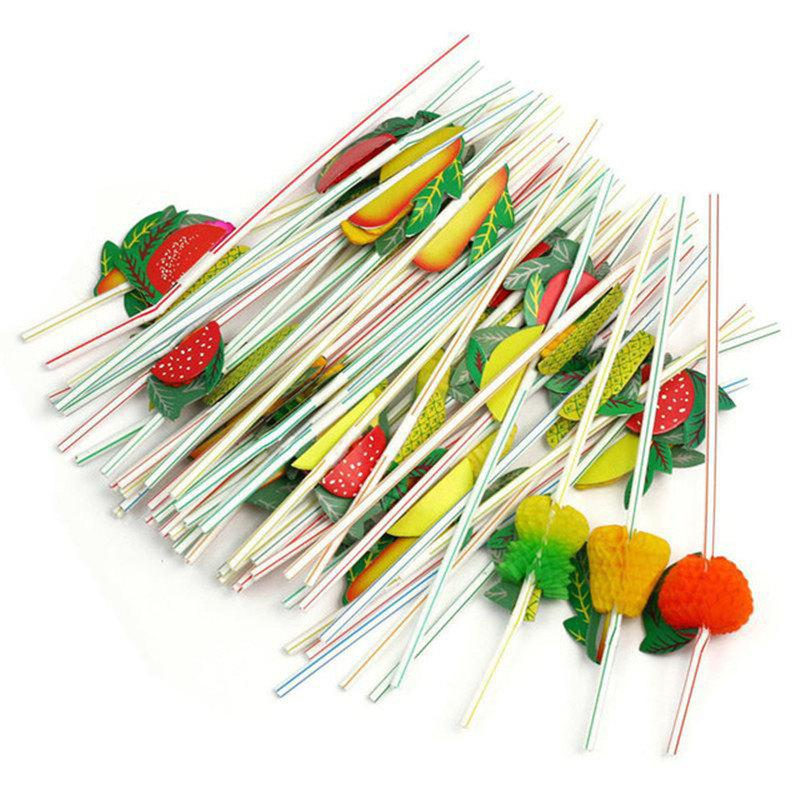 Affordable 24cm 3D Party Straw Multicolor Fruit Plastic Straw Cocktail Drinking 100pcs