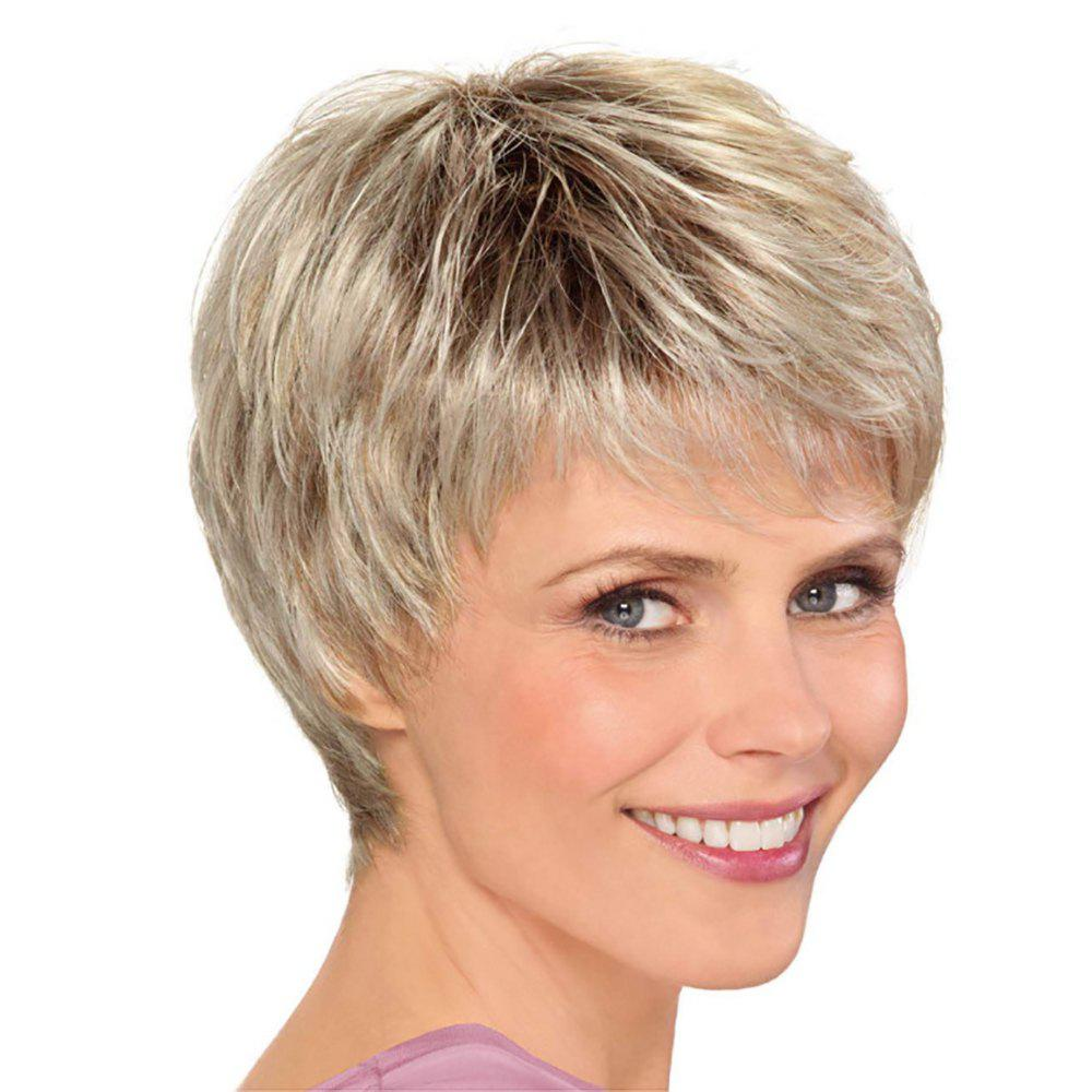 Unique Fashion Woman Golden Gradient Short Hair High Temperature Synthetic Wig