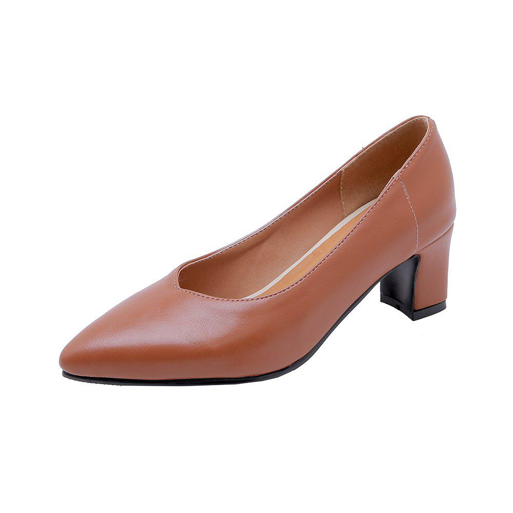 Mode Pointue Pure Color Commuting Femmes Chaussures Chunky Brun EU 38