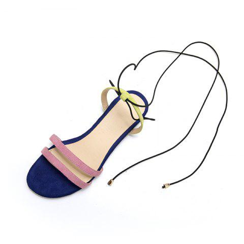 New Fashion Blue Patchwork Napped Leather Bandage Low Heel casual Lady Sandals