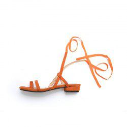 New Fashion Pure Color Dull Polish Bandage Low Heel Casual Lady Sandals -