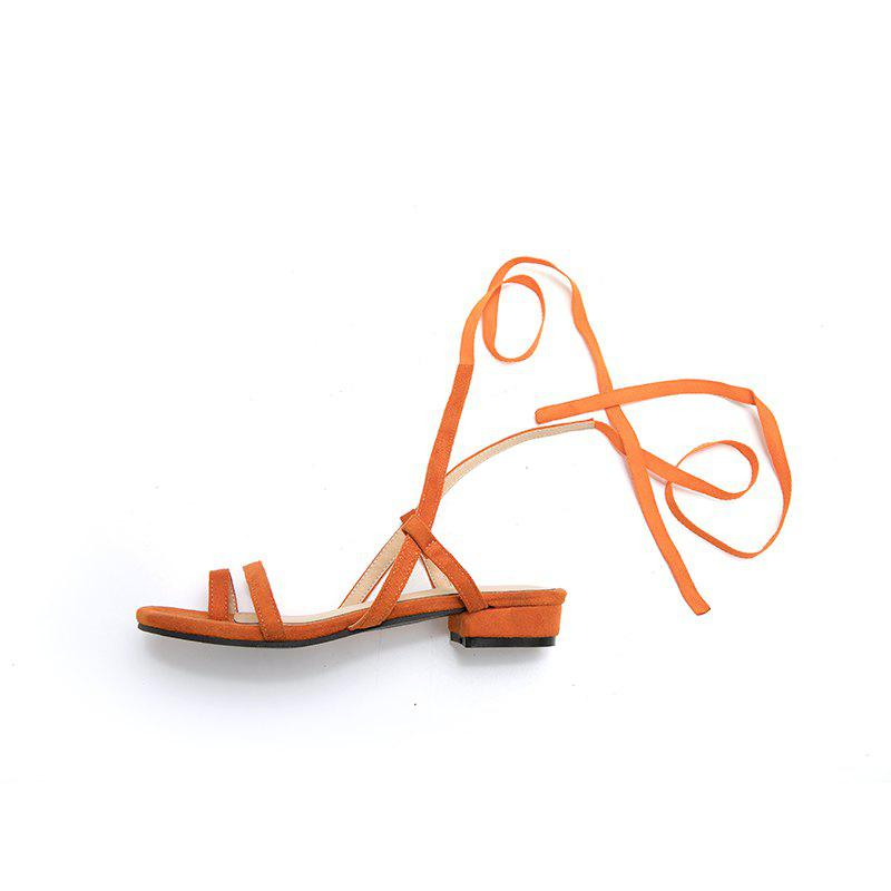 New New Fashion Pure Color Dull Polish Bandage Low Heel Casual Lady Sandals