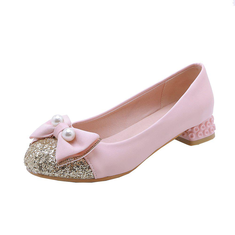 Shop New Fashion Round Toe Sequined Bowknot Sweet Low Heel lady Pumps