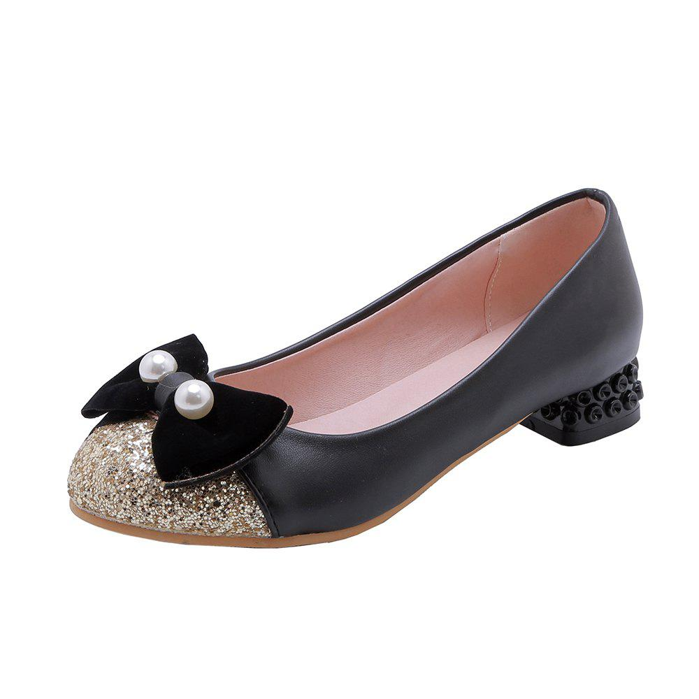 Buy New Fashion Round Toe Sequined Bowknot Sweet Low Heel lady Pumps