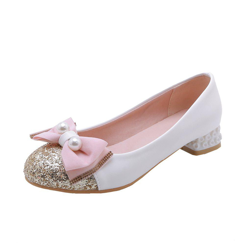 Sale New Fashion Round Toe Sequined Bowknot Sweet Low Heel lady Pumps