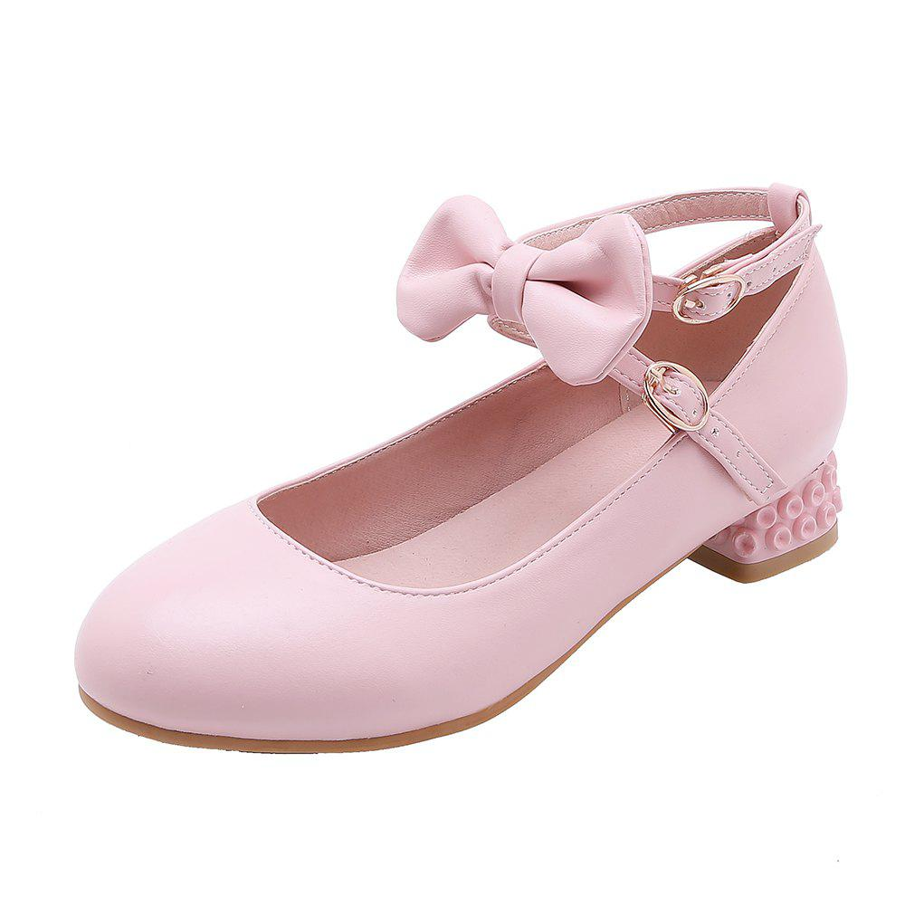 Chic New Fashion Round Toe Buckle Strap Bowknot Sweet Low Heel Lady Pumps