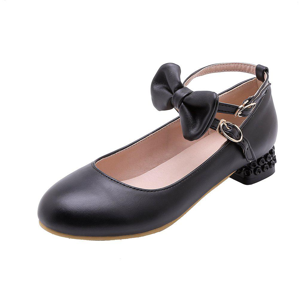 Outfit New Fashion Round Toe Buckle Strap Bowknot Sweet Low Heel Lady Pumps