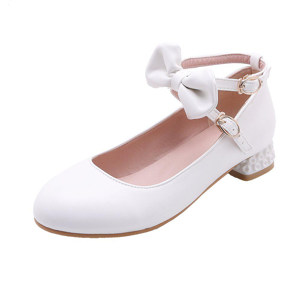 Unique New Fashion Round Toe Buckle Strap Bowknot Sweet Low Heel Lady Pumps