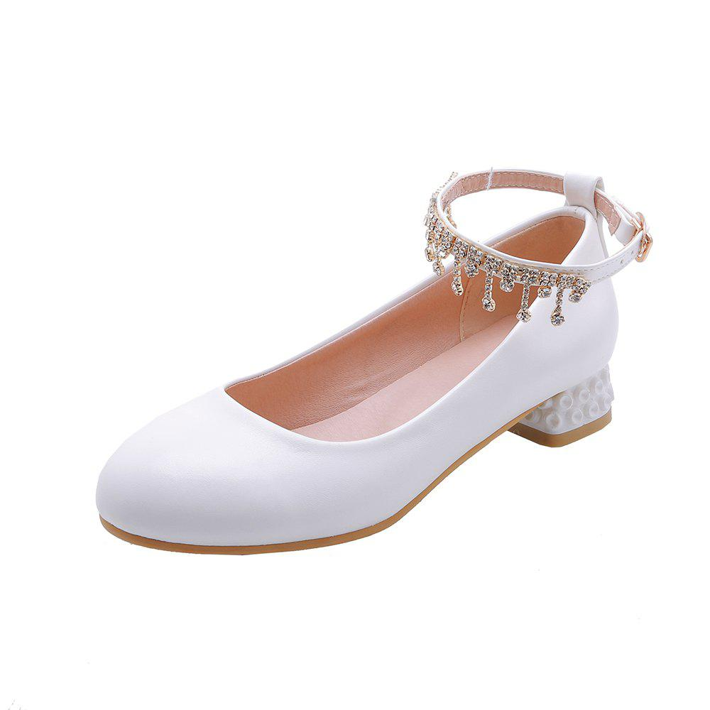 Hot New Fashion Round Toe Buckle Strap Crystal Rhinestone Sweet Low Heel Lady Pumps