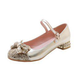 New Fashion Round Toe Glitter Bowknot Sweet Low Heel Lady Pumps -