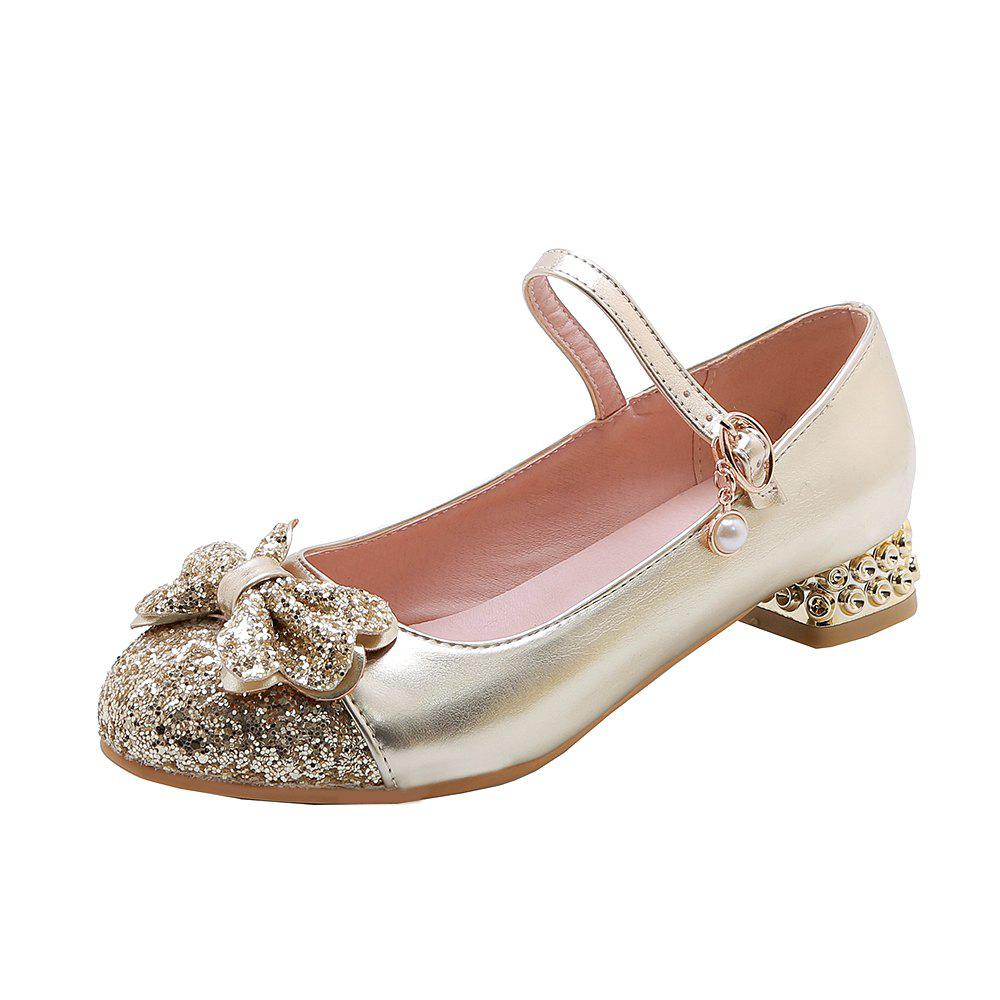 Unique New Fashion Round Toe Glitter Bowknot Sweet Low Heel Lady Pumps