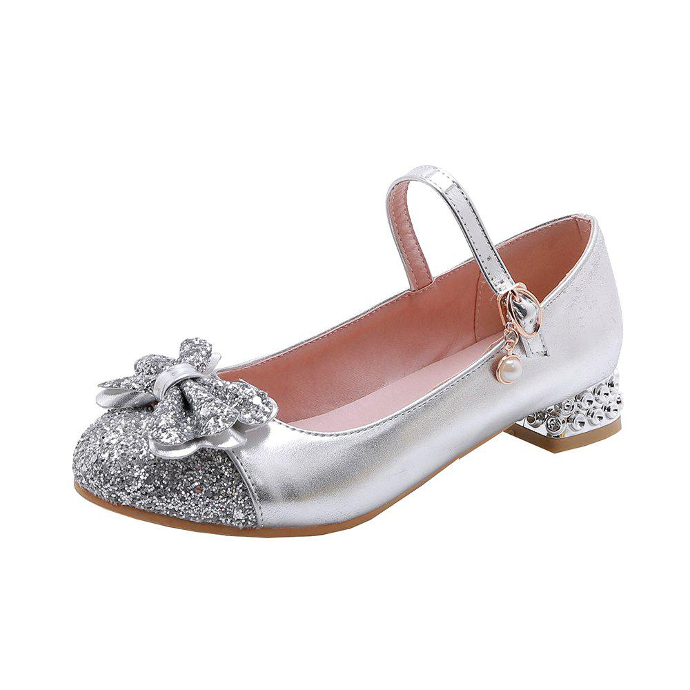 Sale New Fashion Round Toe Glitter Bowknot Sweet Low Heel Lady Pumps