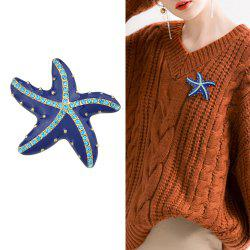 Blue Enamel And Rhinestone With Starfish Brooch -