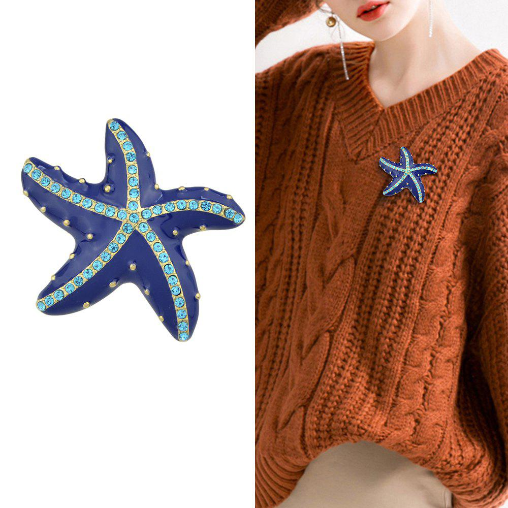 Chic Blue Enamel And Rhinestone With Starfish Brooch