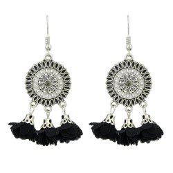Silver Color With Colorful Enamel Flower Earrings -