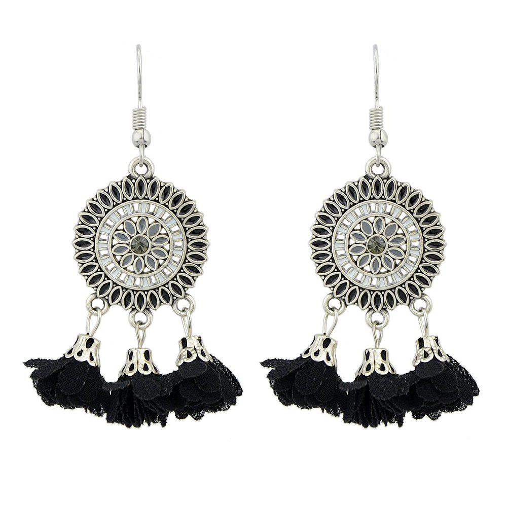 Outfits Silver Color With Colorful Enamel Flower Earrings