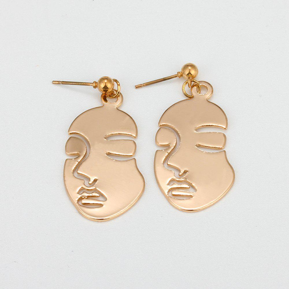 HAOMOU Hollowed Out Face Earrings Stylish Metal Studsand Hipster Retro Earrings