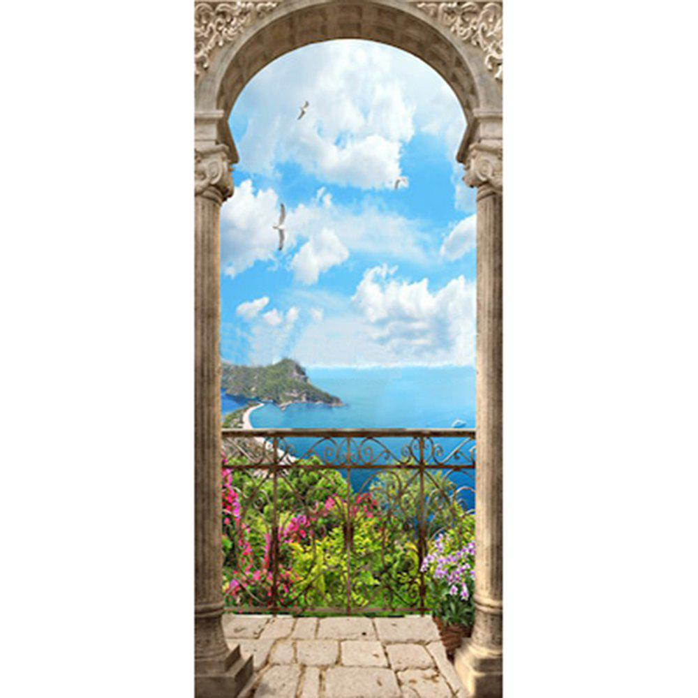 3D Door Sticker Wall Sticker Mural Home Decor Garden Pilar 2pcs