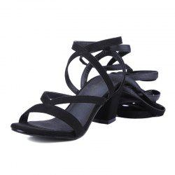 Crossed Straps Thick Heels and Fashionable Sandals -