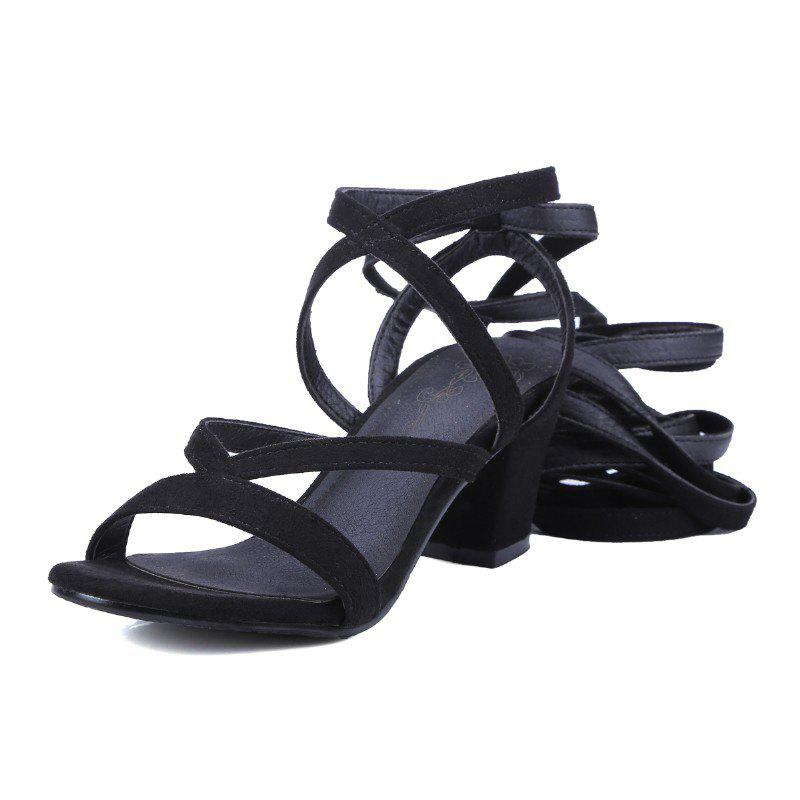 Unique Crossed Straps Thick Heels and Fashionable Sandals