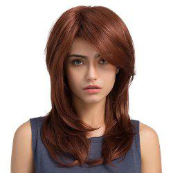 Wig Slanted Bangs Long Curly Hair Red Brown Pear Flower Buckle in The Long Hair -