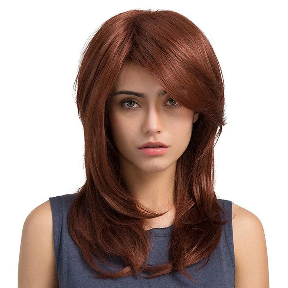 Fashion Wig Slanted Bangs Long Curly Hair Red Brown Pear Flower Buckle in The Long Hair