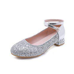 Fashion Round Toe Glitter Buckle Strap Low Heel lady Pumps -