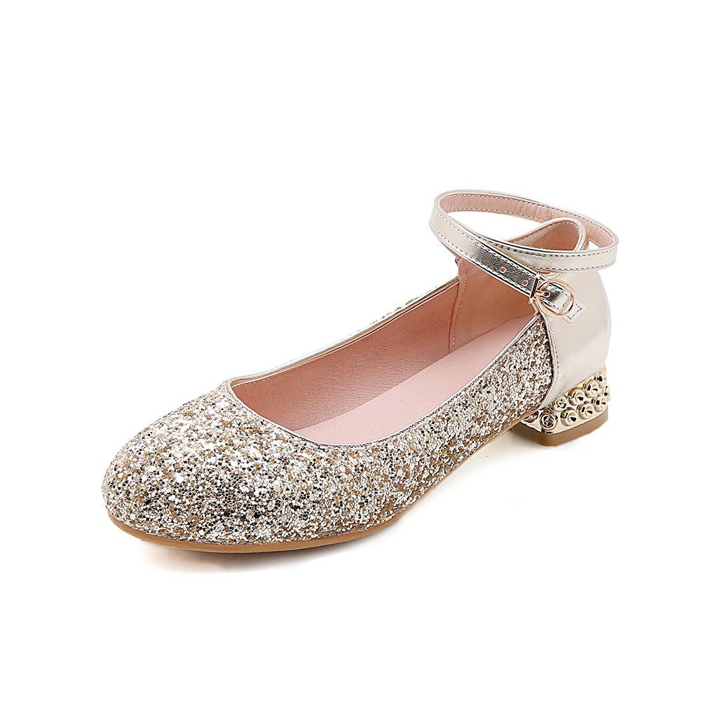 Affordable Fashion Round Toe Glitter Buckle Strap Low Heel lady Pumps