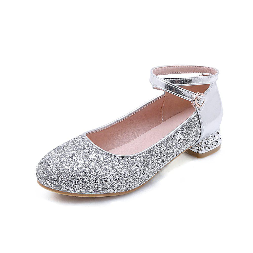 Online Fashion Round Toe Glitter Buckle Strap Low Heel lady Pumps