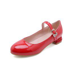 Round Toe Patent Leather Buckle Strap Pure Color Sweet Low Heel Lady Pumps -