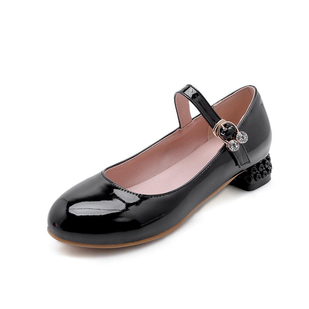 New Round Toe Patent Leather Buckle Strap Pure Color Sweet Low Heel Lady Pumps