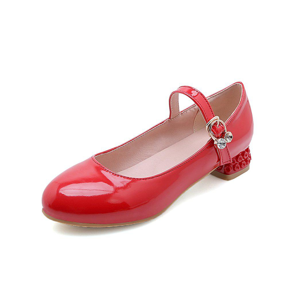 Outfit Round Toe Patent Leather Buckle Strap Pure Color Sweet Low Heel Lady Pumps