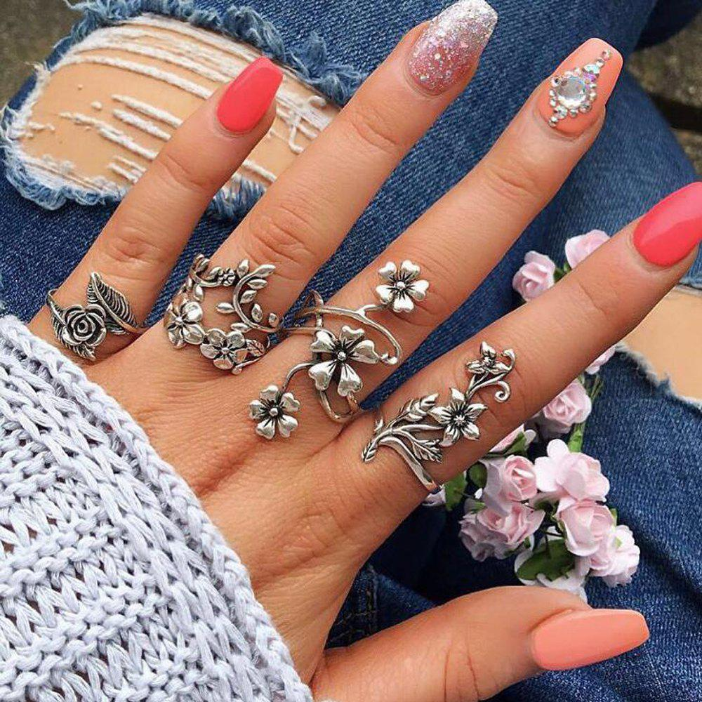 Online Antique Silver Color With Flower Rings Set 4pcs