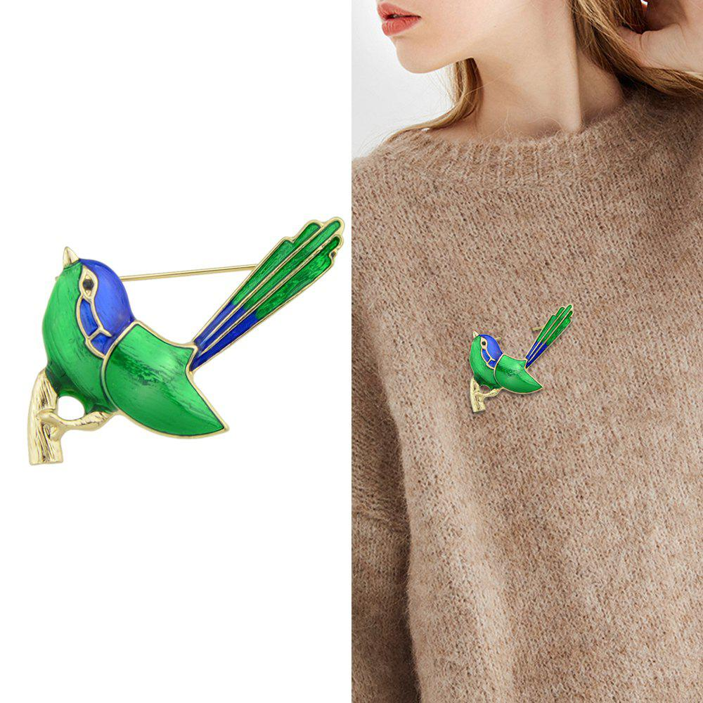 Cheap Gold-Color With Green Enamel Bird Brooch